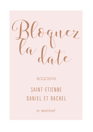 light pink save the date card Annonce de mariage