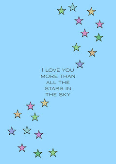 multicolored stars 'I love you' card Stars