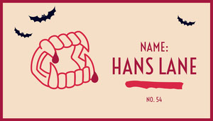 Beige and Red Vampire Fangs and Bats Halloween Party Place Card Tarjetas para mesas de invitados