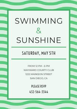 Green Pool Party Invitation Card with Wave Pattern Pool Party Invitation