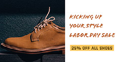 Brown and White Shoes Sale Facebook Banner Offer Ad Labor Day Flyer