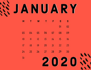 JANUARY 2020 Monatskalender