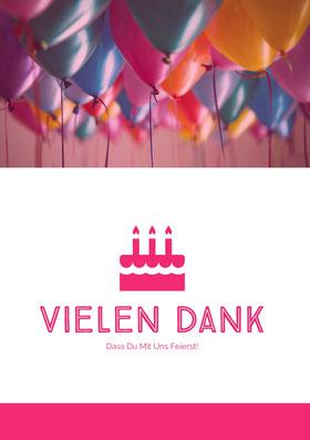 birthday balloons thank you cards Danksagungskarte