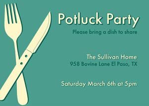 Green Modern Potluck Invitation Potluck Invitation