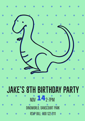 Green and Blue, Light Toned Birthday Invitation Card Birthday Invitation (Boy)