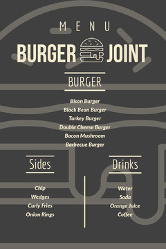 Grey and White Bar Menu Burger