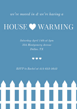 Blue Illustrated Housewarming Party Invitation Card with Fence Housewarming Invitation