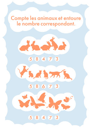 Orange Animals Counting Exercise A4 Modèles gratuits de feuilles de calculs de maths