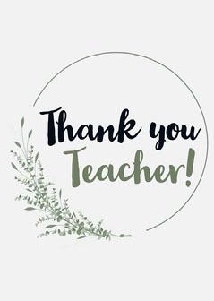 Off white & Green Thank You Teacher Card Teacher