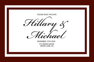 Brown and White Wedding Invitation  Wedding Announcement