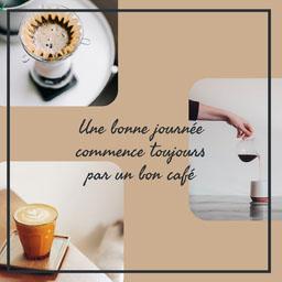 Beige Black Border Simple Cafe Instagram Square