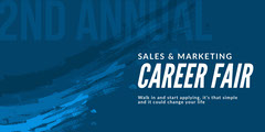 Blue and White Career Fair Facebook Page Cover Career Poster