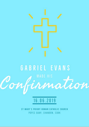 Blue and White Confirmation Announcement Confirmation Annoucement