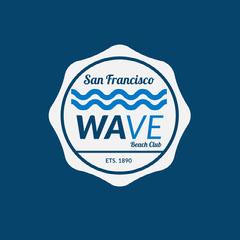 Blue Wave Beach Club Badge California