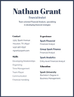 Black and White Nathan Grant Resume Finance