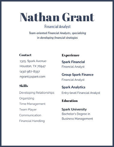 Black and White Nathan Grant Resume Best Fonts for Your Résumé
