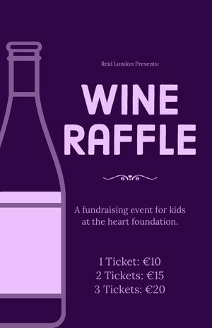 Purple Wine Raffle Fundraising Event Flyer Event Poster