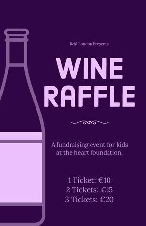 Purple Wine Raffle Fundraising Event Flyer Eventplakat