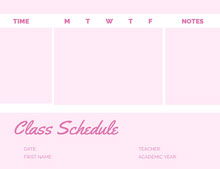 Pink Weekly School Class Schedule 일정