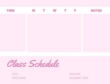Pink Weekly School Class Schedule Programación