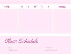 Pink Weekly School Class Schedule Education