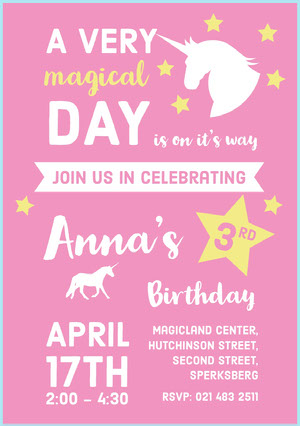 Pink Unicorn Girl's Birthday Party Invitation Card Yksisarvissynttärikortti