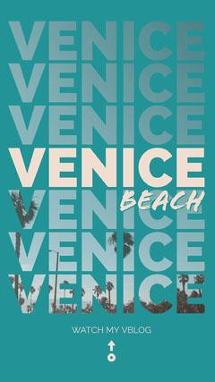 Blue and White Venice Beach Social Post Beach