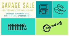 Blue and Green Garage Sale Ad Facebook Banner Garage Sale Flyer