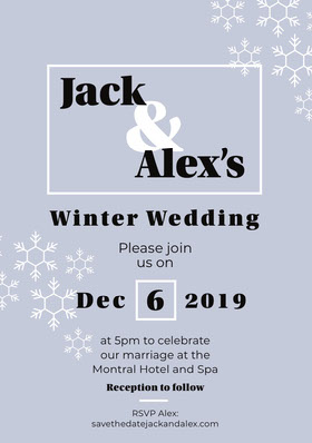 Blue Snowflake Winter Wedding Invitation Card Save the date-kaart