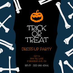 Navy Black White and Orange Trick or Treat Party Invite IG Square Halloween