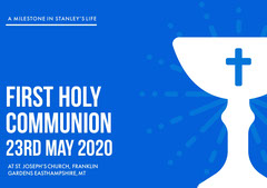 Blue and White, Light Toned First Holy Communion Announcement Card Christianity