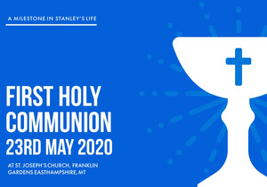 Blue and White, Light Toned First Holy Communion Announcement Card Communion Annoucements