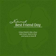 Green National Best Friend Day Instagram Square with Clover Friends