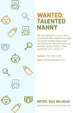 Illustrated Nanny Wanted Flyer Job Poster