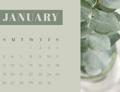 Green January Calendar with Houseplant Photo Plants