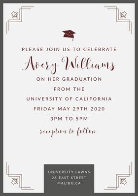 White and Grey Graduation Invite Graduation Invitation
