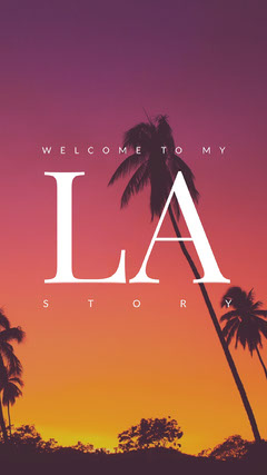 Pink, Yellow, Black and White Los Angeles Travel Ad Instagram Story Welcome Poster
