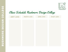 Green and White Empty Schedule Class Schedule