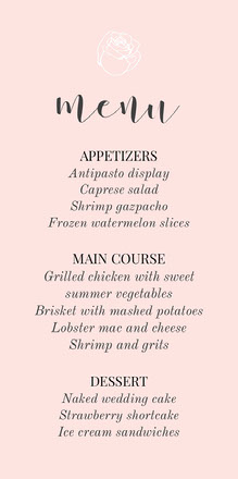 pink rose wedding menu  Menu per matrimonio