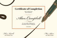 Fountain Pen Calligraphy Course Completion Certificate Educational Course