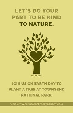 Yellow Illustrated Environmental Conservation Poster with Tree and Heart Campaign