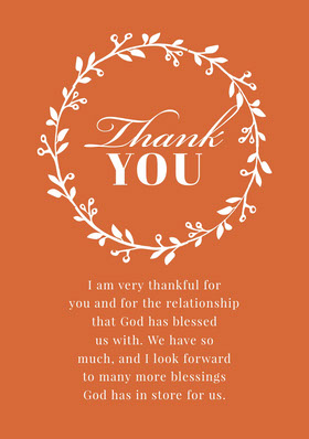 Orange and White Thanksgiving Give Thanks Thank You Card Thank You Card