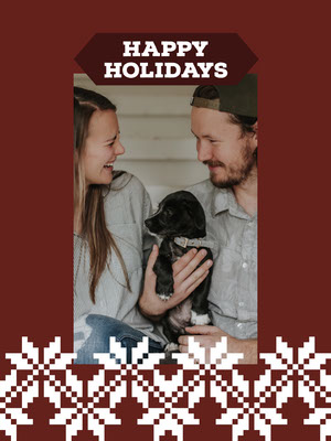 White and Red Framed Family Christmas Card Christmas Card