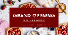 Red and White Restaurant Opening Facebook Banner Brunch