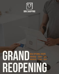 Gray Shop Reopening Instagram Portrait Ad with Photo Grand Opening Flyer