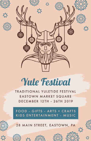 Pink and Blue Yule Festival Poster Music Festival Poster