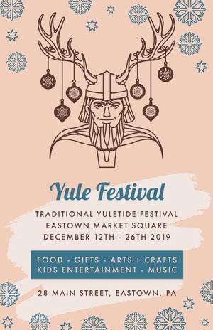Pink and Blue Yule Festival Poster Pósters para Festivales de música