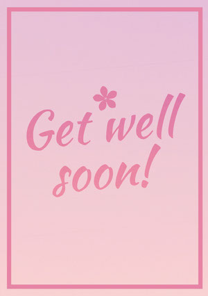 Pink Get Well Soon Card with Frame and Flower God bedring-kort
