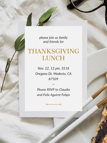Thanksgiving Lunch Invitation with Address and Table Convite