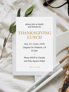 Thanksgiving Lunch Invitation with Address and Table Thanksgiving